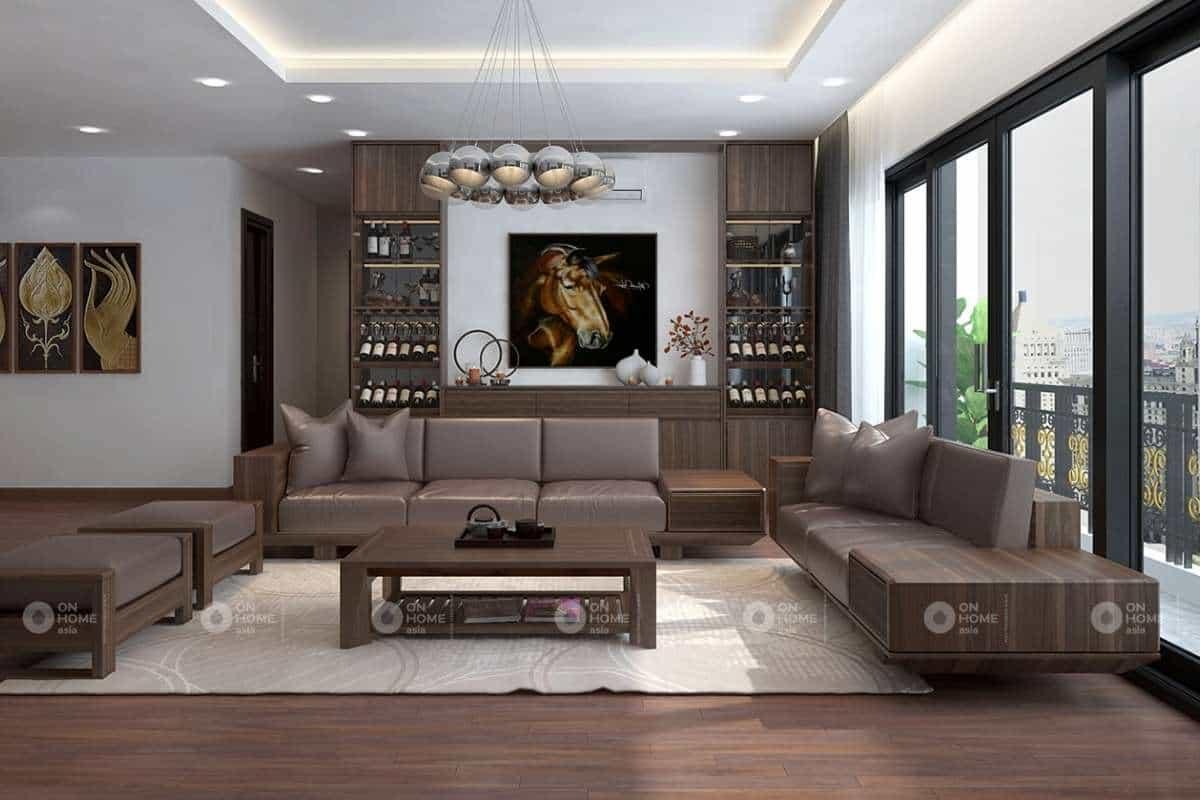 Cách kê bàn ghế gỗ phòng khách hợp phong thủy