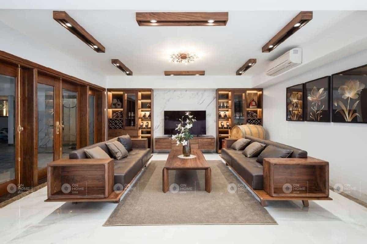 Cách kế bàn ghế gỗ phòng khách hiện đại