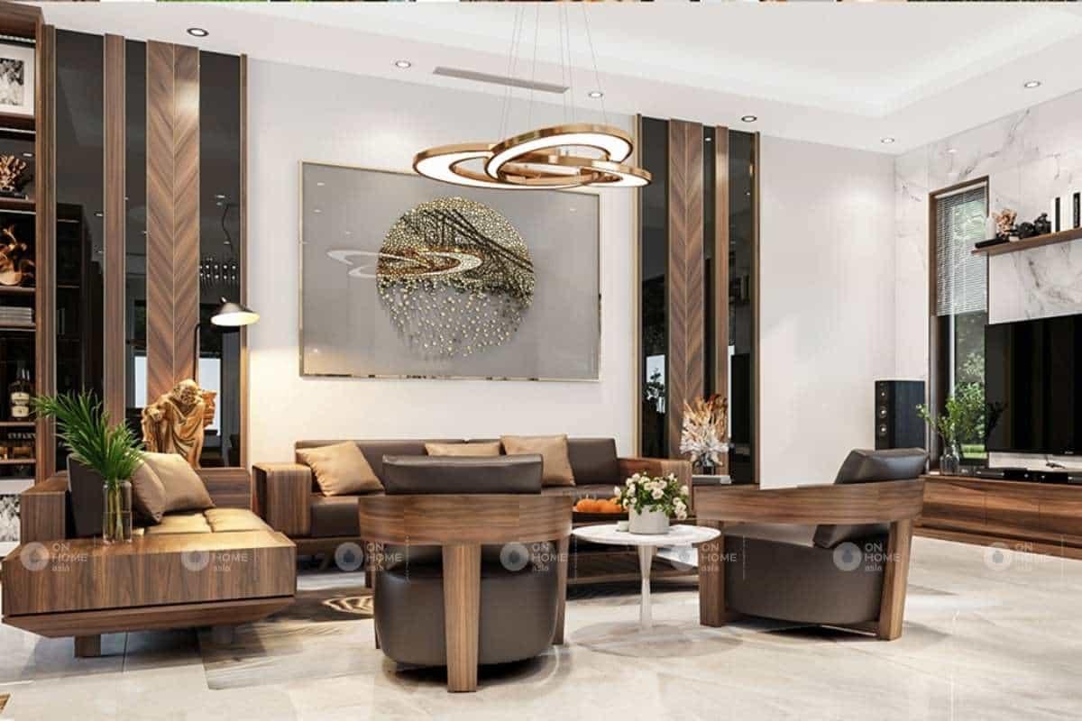 Cách bố trí bàn ghế gỗ phòng khách biệt thự