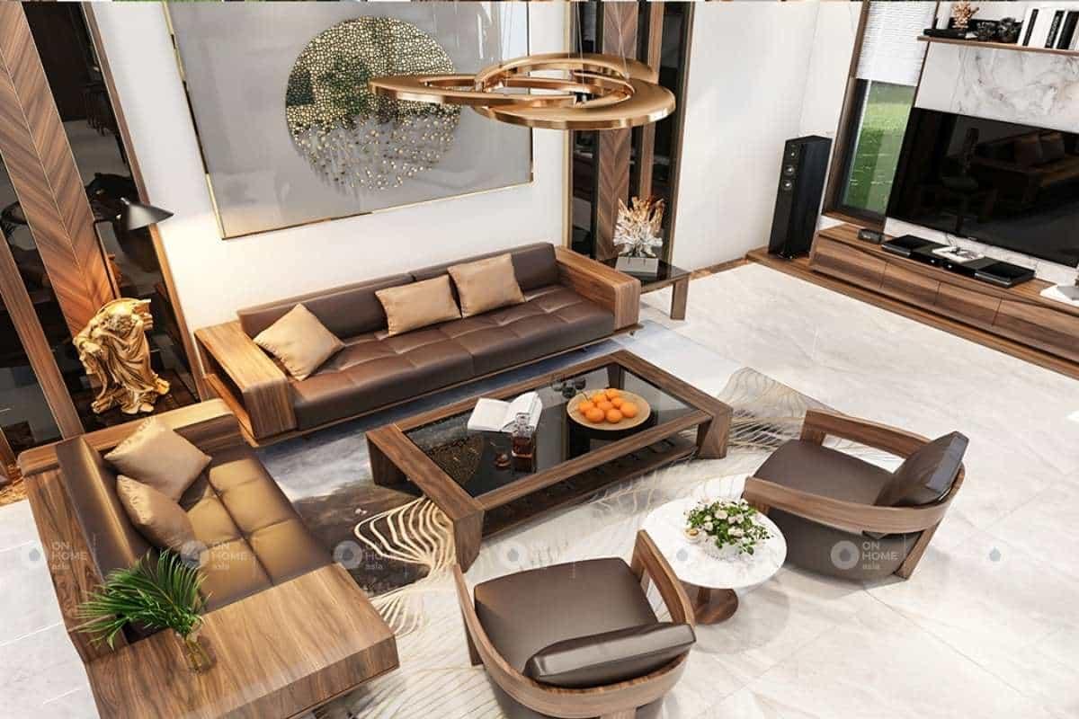 Cách kê bàn ghế gỗ phòng khách biệt thự hiện đại