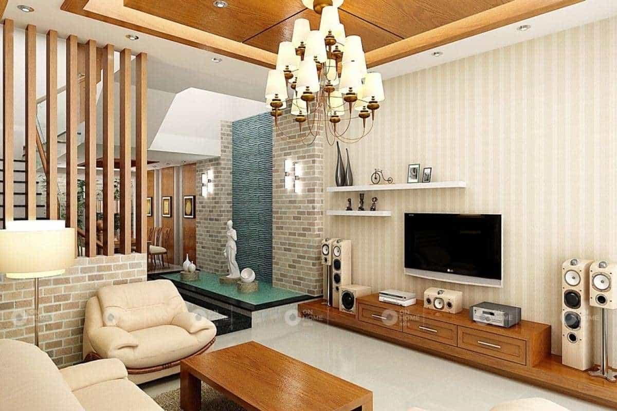 Giấy dán tường được xem là xu hướng ưa thích trong kiến trúc phòng khách
