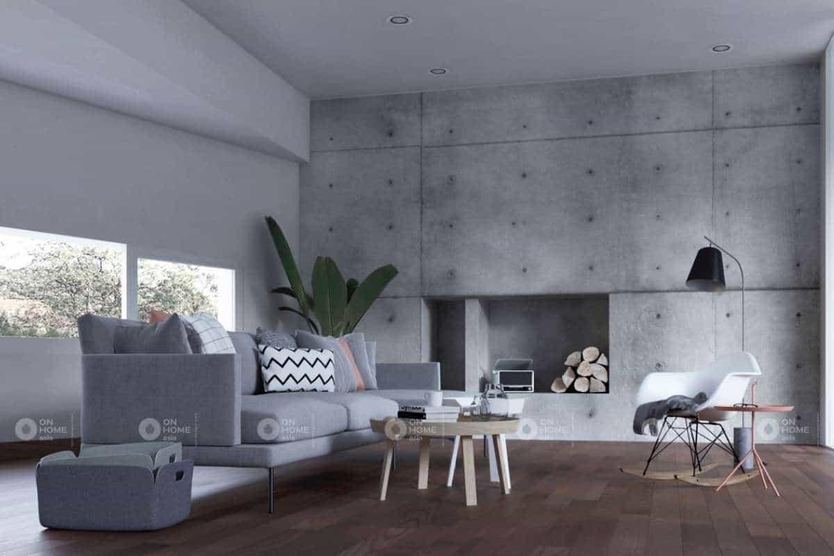Chất liệu gỗ và thô được ưa chuộng trong kiến trúc phòng khách