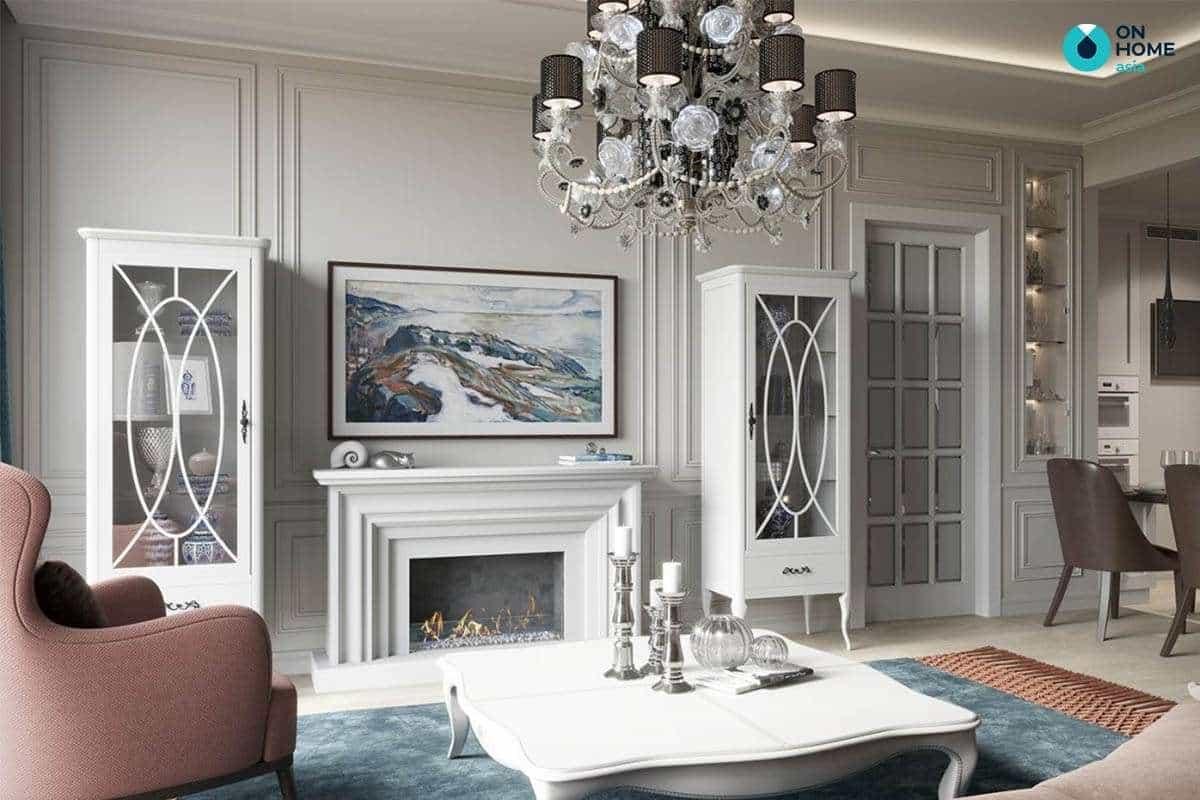Kiến trúc phòng khách đẹp với đường nét cuốn hút