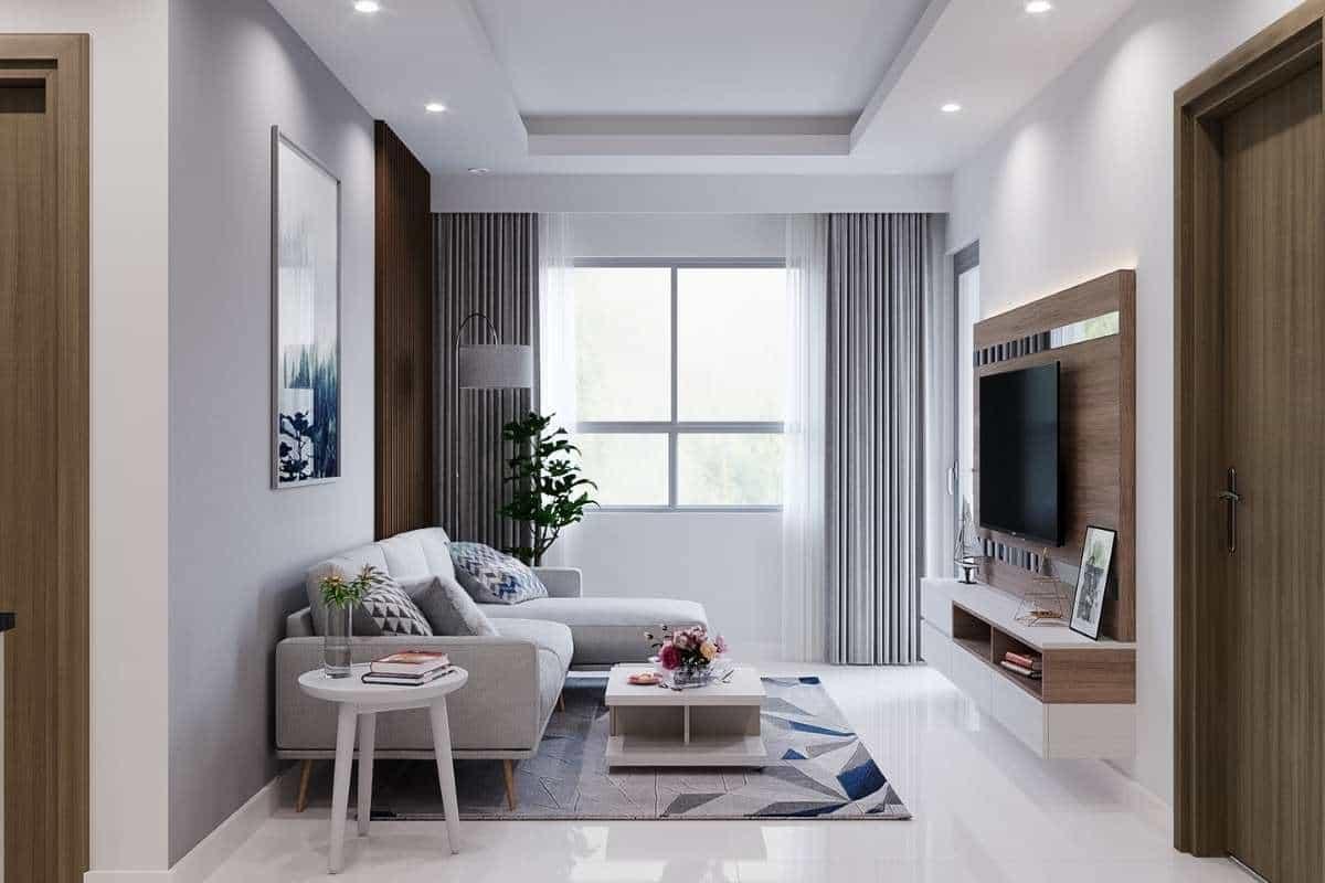 Kiến trúc phòng khách với màu xanh và trắng đơn giản