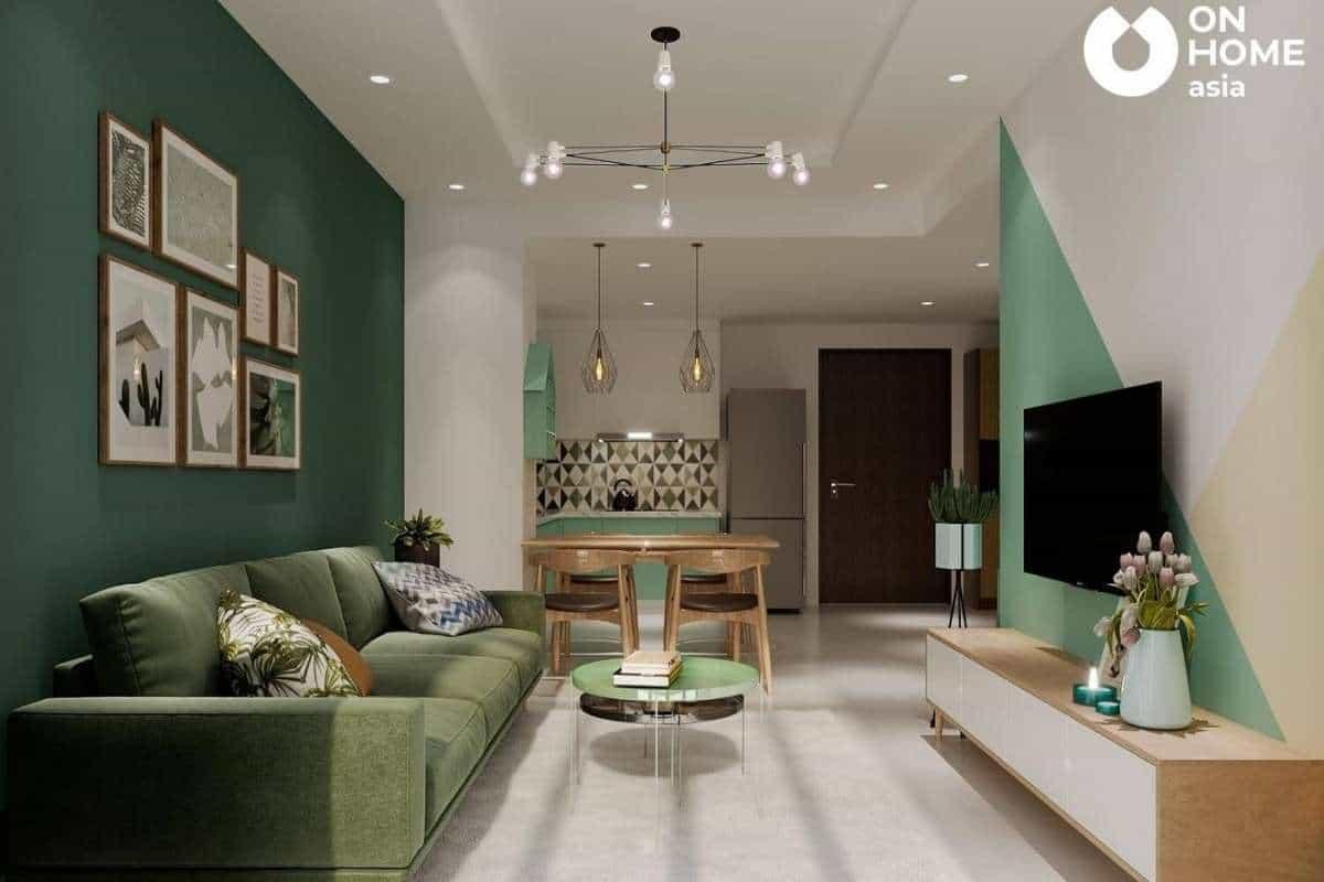 Chất liệu nhung rất được ưa chuộng trong kiến trúc phòng khách đẹp