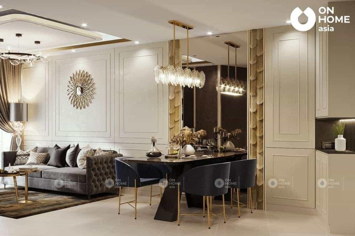 Nội thất ánh kim và vàng đồng rất được ưa chuộng trong kiến trúc phòng khách
