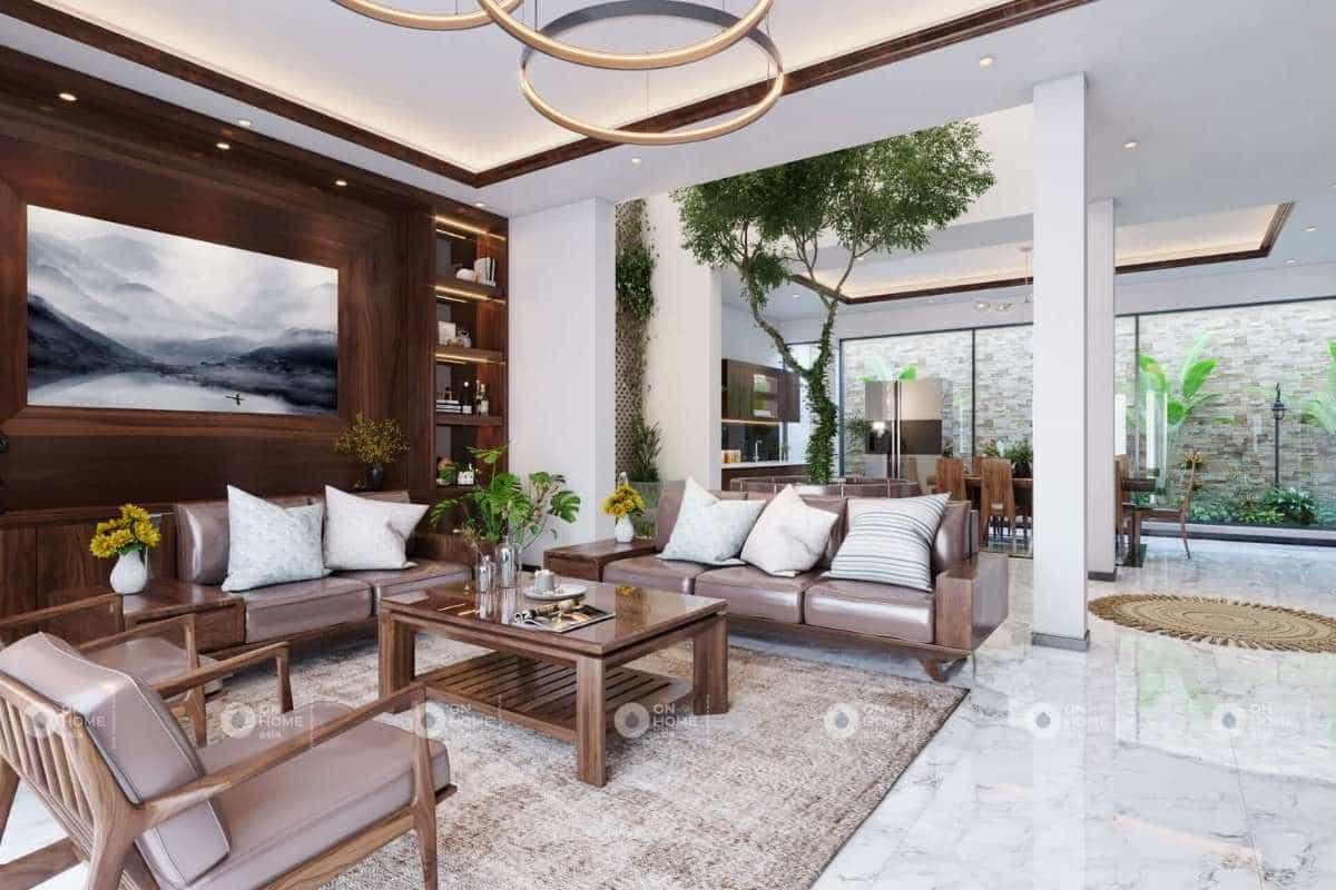 Thiết kế nội thất nhà phố 120m2 với chất liệu gỗ