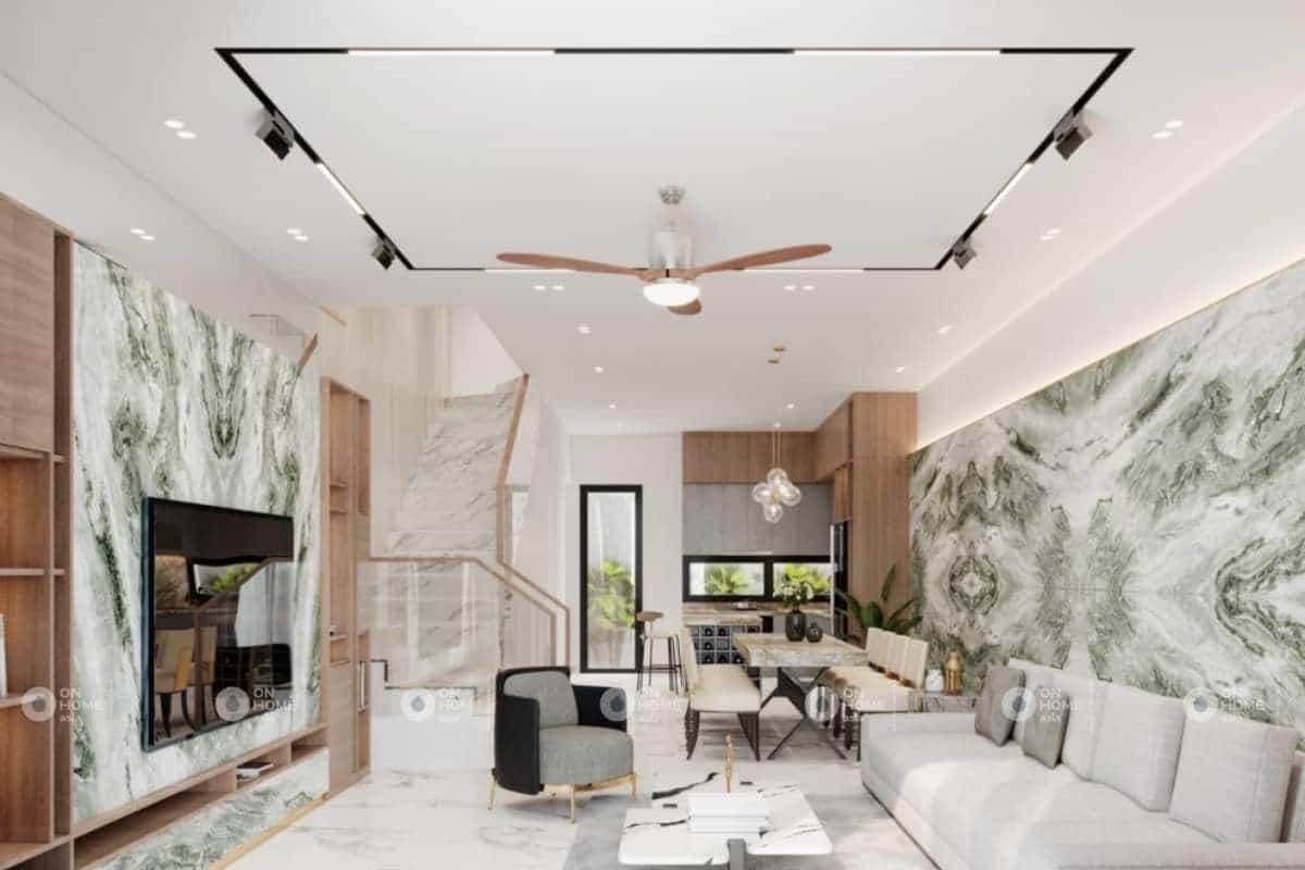 Thiết kế nội thất nhà phố 120m2 với phòng khách