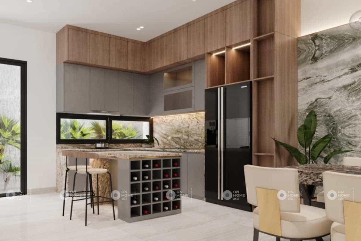 Phòng bếp được thiết kế gọn gàng và linh hoạt