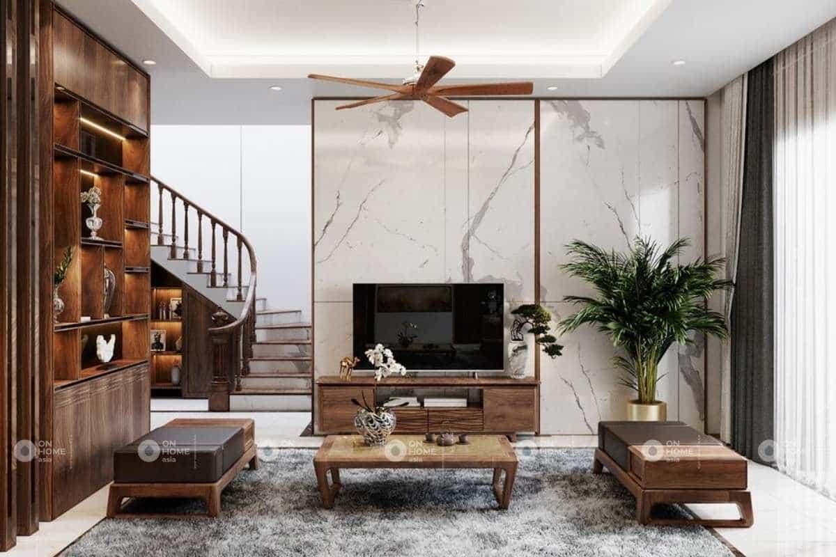 Nội thất nhà phố 120m2 với chất liệu gỗ óc chó