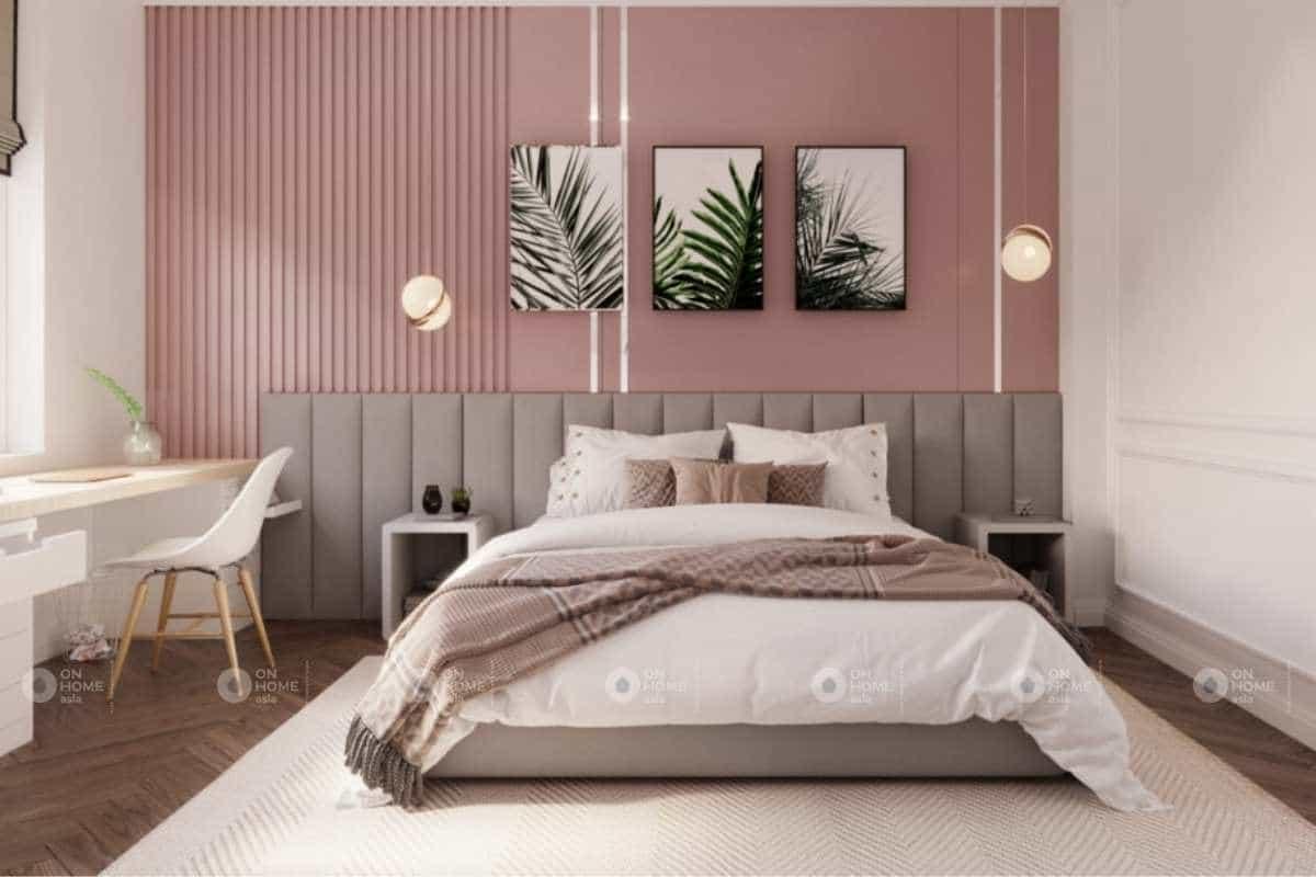 Phòng ngủ tân cổ điển với màu hồng dễ thương