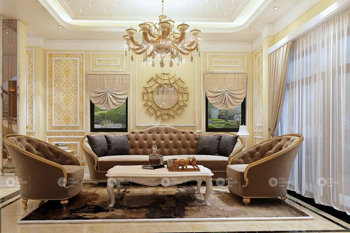 Nội thất nhà phố tân cổ điển với sắc vàng quý tộc
