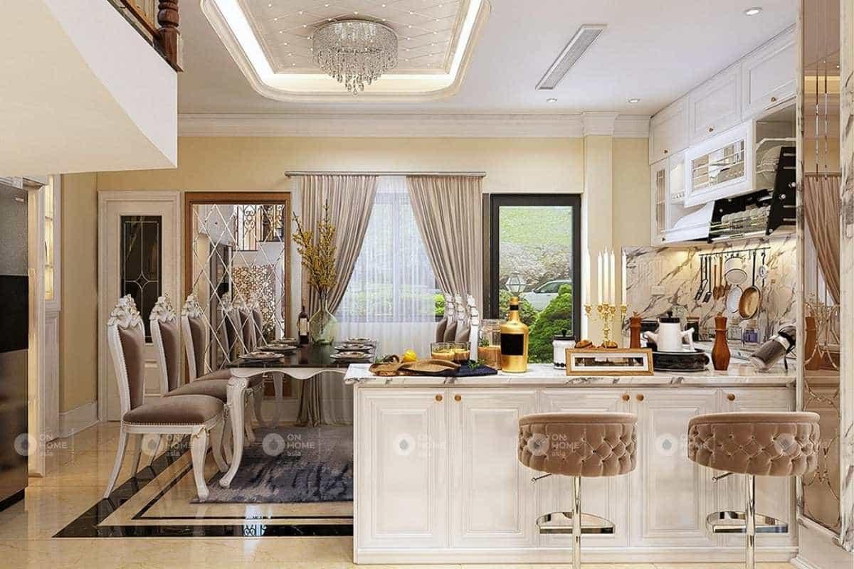 Phòng bếp nhà phố tân cổ điển được thiết kế ấn tượng