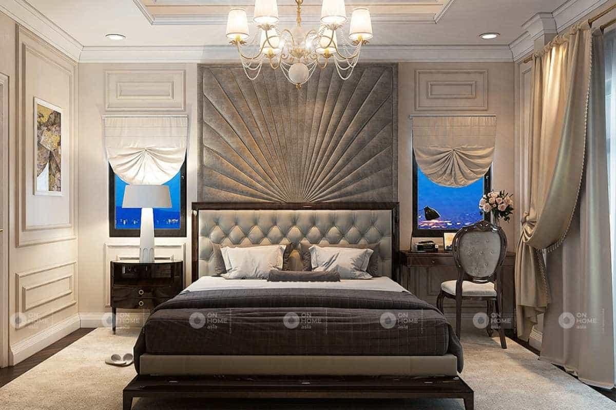 Phòng ngủ nhà phố tân cổ điển với tone trầm ấm