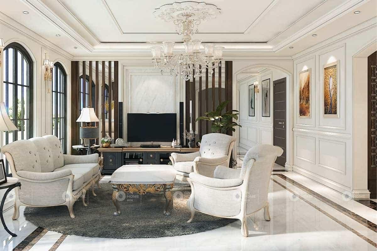 Nội thất phòng khách tân cổ điển thanh lịch với tone trắng chủ đạo