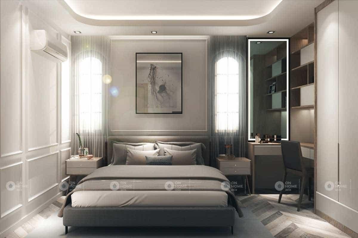 Phòng ngủ nhà phố tân cổ điển được thiết kế thanh lịch
