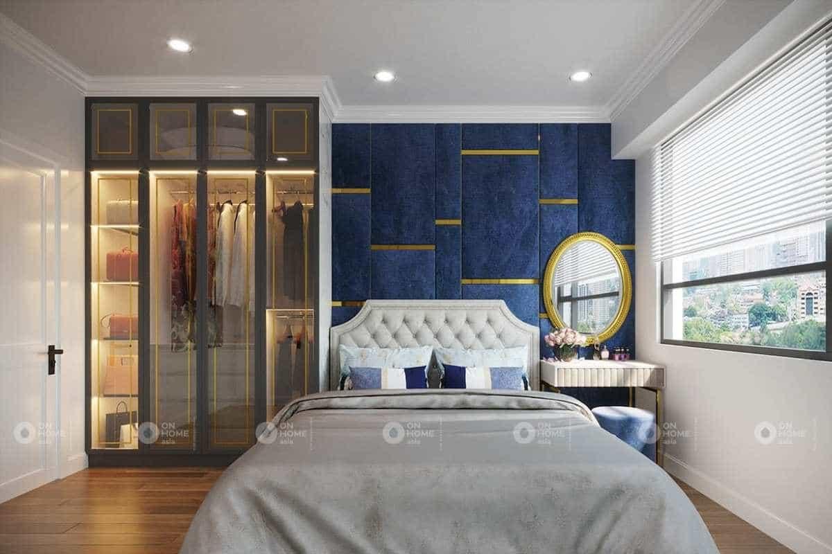 Nội thất phòng ngủ tân cổ điển với màu xanh