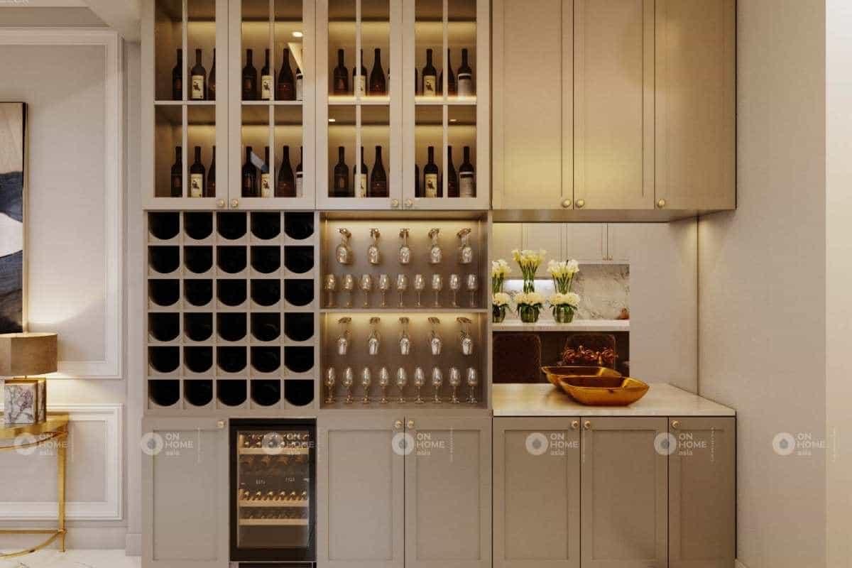 Tủ bếp được thiết kế đầy đủ tiện nghi