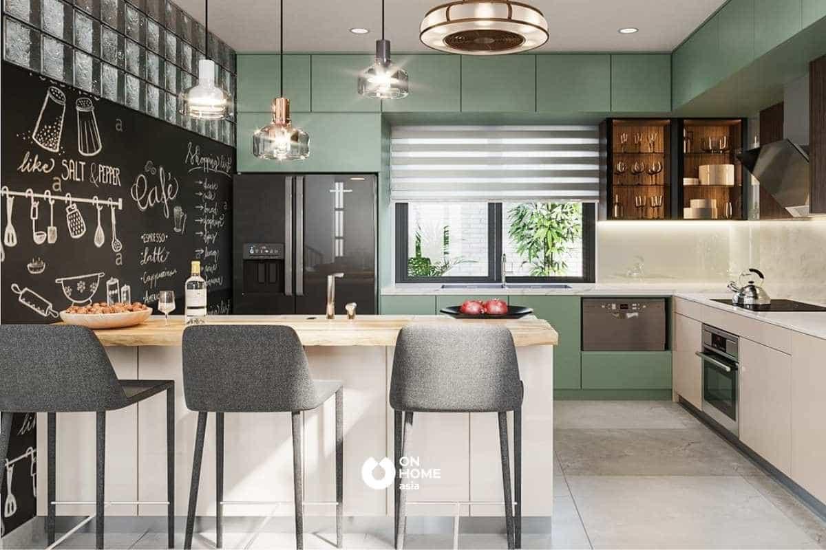 Thiết kế tủ bếp chữ L giúp nhà bếp trở nên sinh động hơn