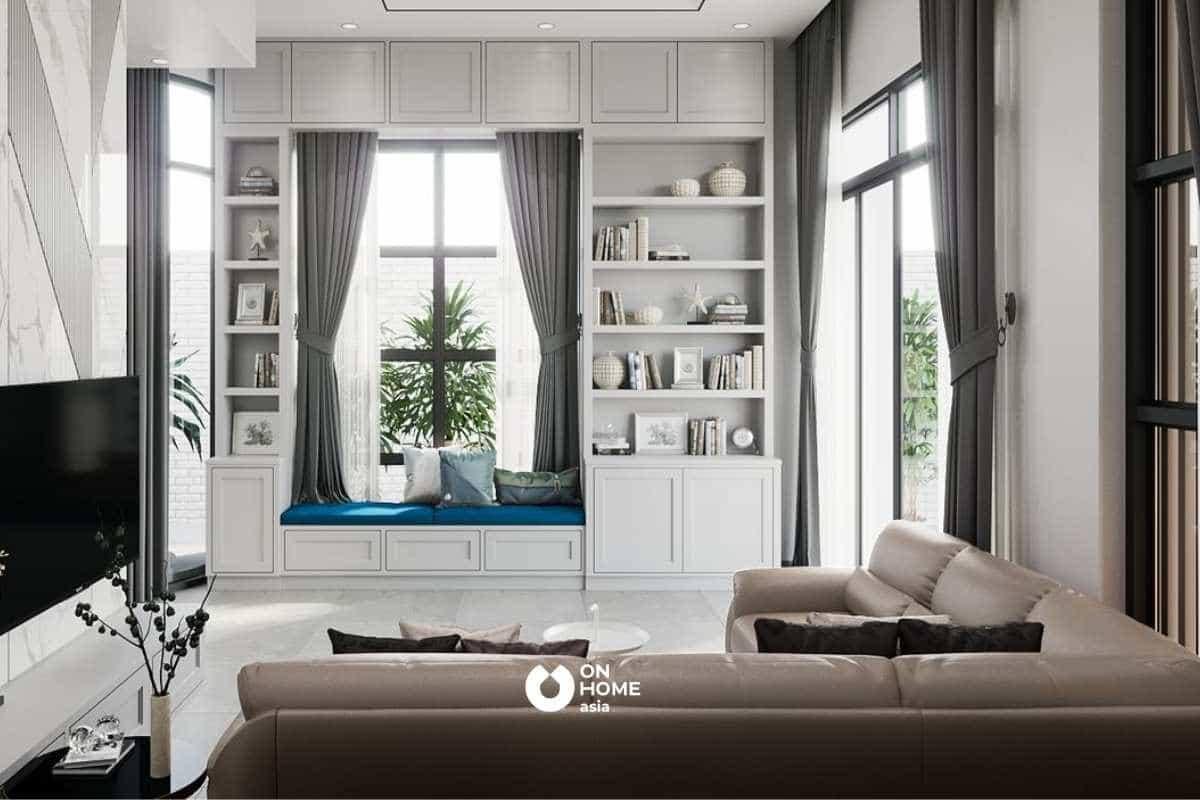 Thiết kế nội thất phòng khách hiện đại với tông màu trắng nhẹ nhàng là điểm nhấn