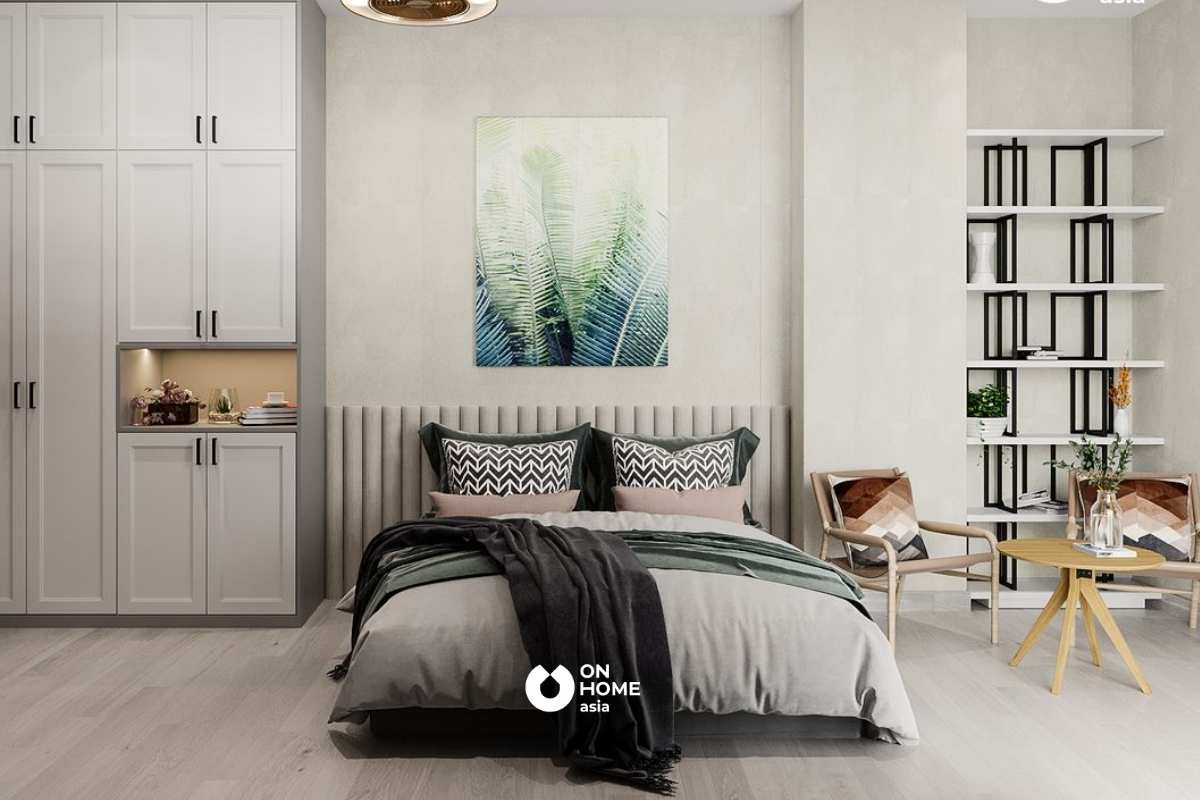 Phòng ngủ Master với tông màu xám dịu nhẹ