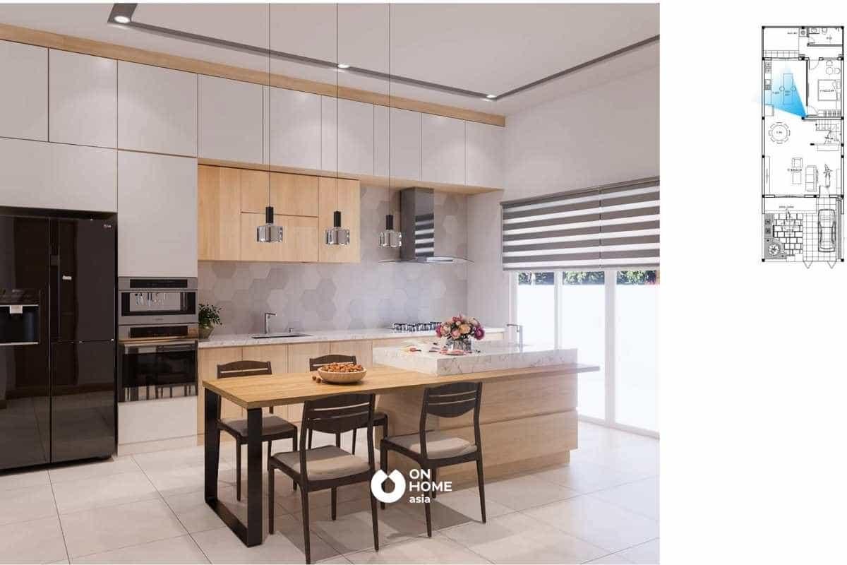 Nhà bếp hiện đại, tông màu sáng mang lại cảm giác tươi trẻ và ấm áp