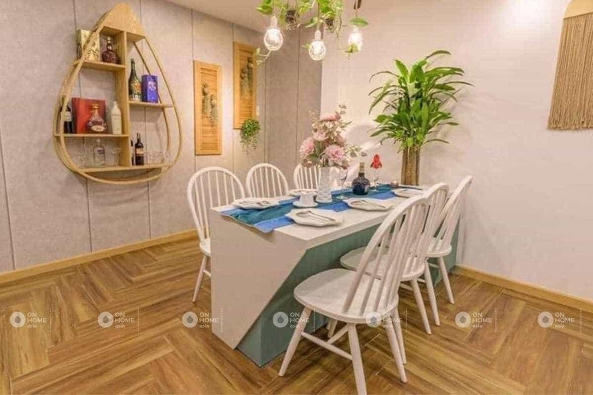 Nội thất bàn ăn đơn giản và thanh lịch với sắc xanh