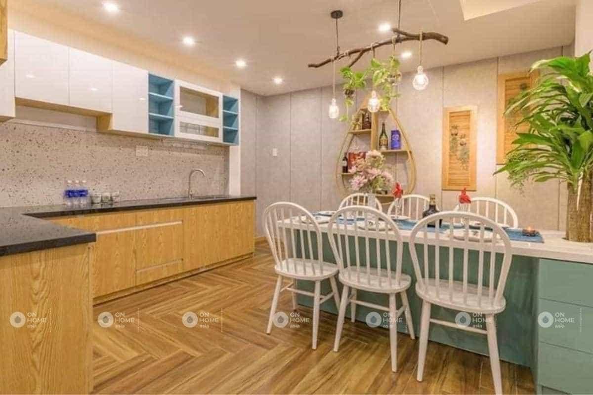 Thiết kế nội thất phòng bếp nhà phố 50m2 đơn giản