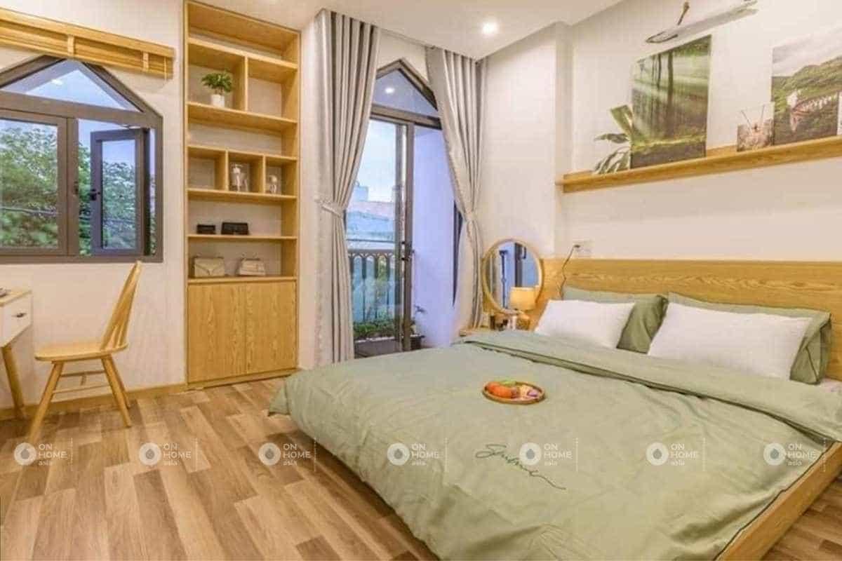 Thiết kế phòng ngủ màu xanh cho nội thất nhà phố 50m2