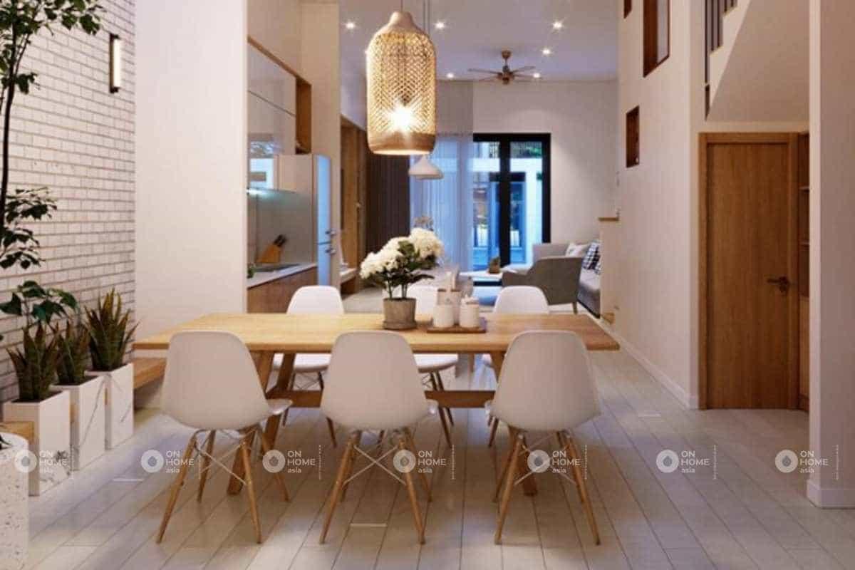 thiết kế nội thất nhà phố 50m2 với phòng bếp đẹp