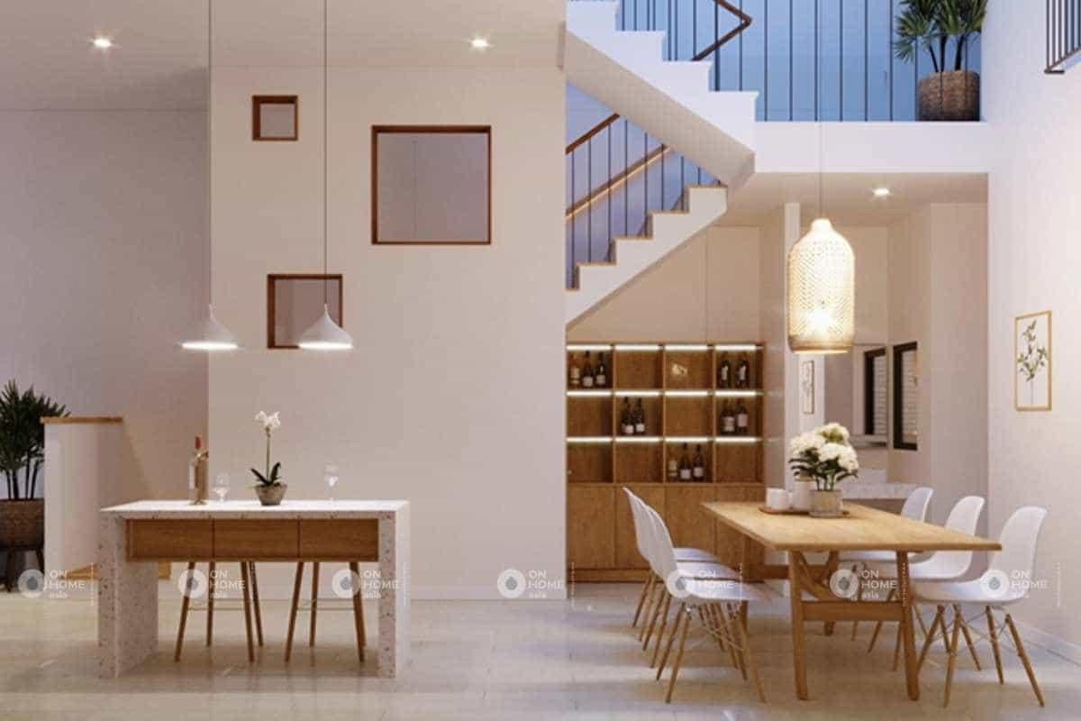 thiết kế quầy bar cho nội thất nhà phố 50m2