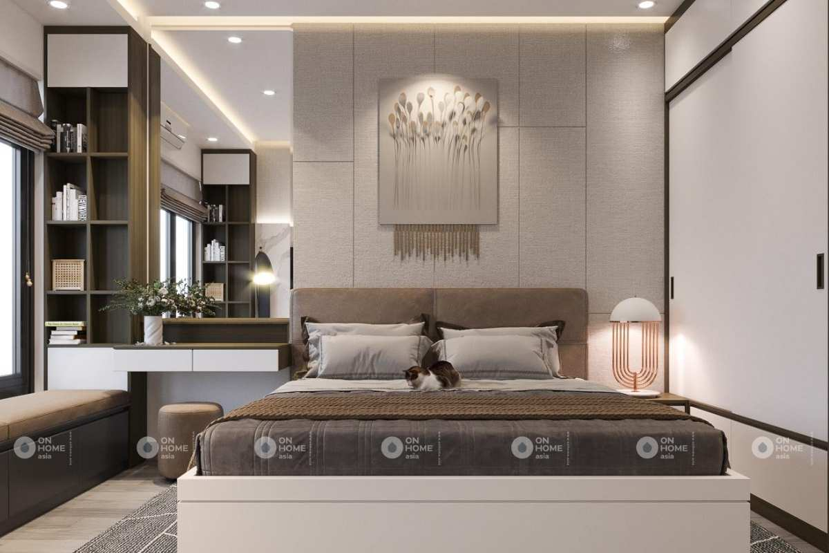 Thiết kế nội thất phòng ngủ nhà phố 50m2 hiện đại
