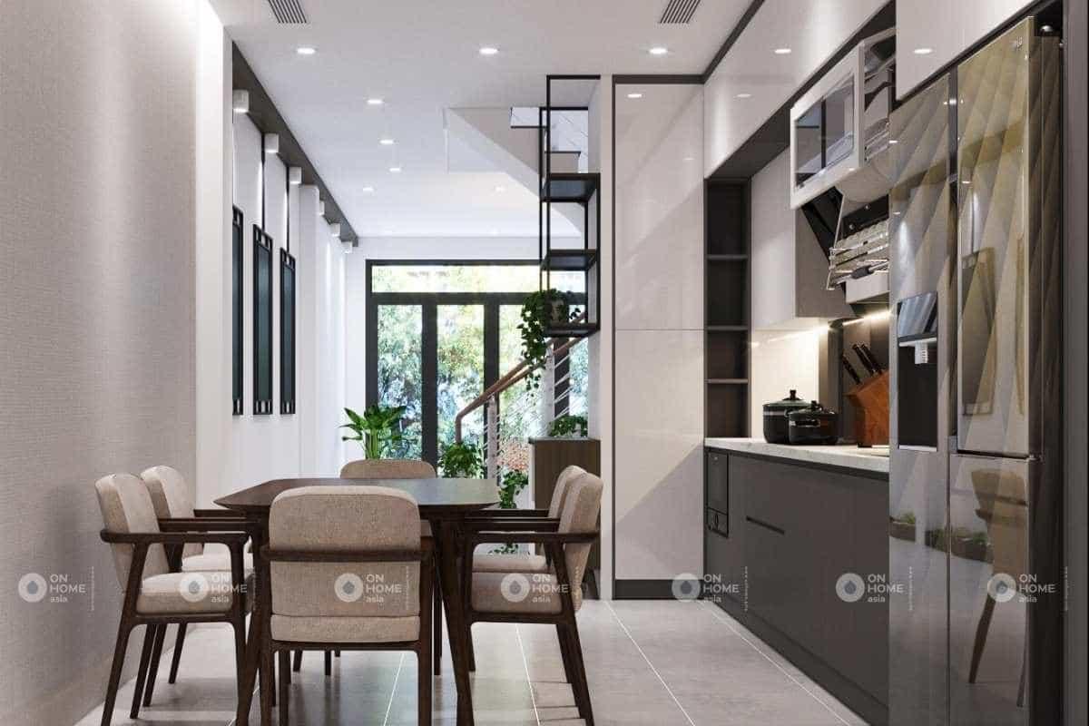 Thiết kế phòng bếp nhà phố 50m2 đẹp