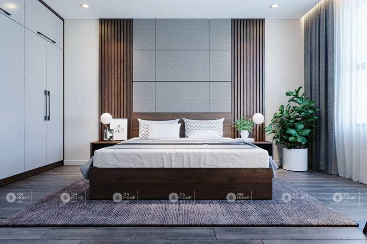 Nội thất phòng ngủ thứ hai với gam xám và nâu ấm áp
