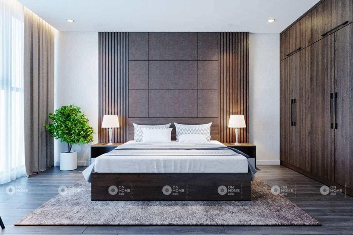 Thiết kế nội thất phòng ngủ nhà phố 5x20m với nội thất bằng gỗ êm ái