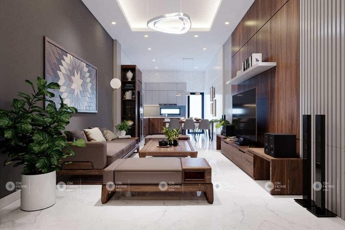 phòng khách nhà phố 5x20m