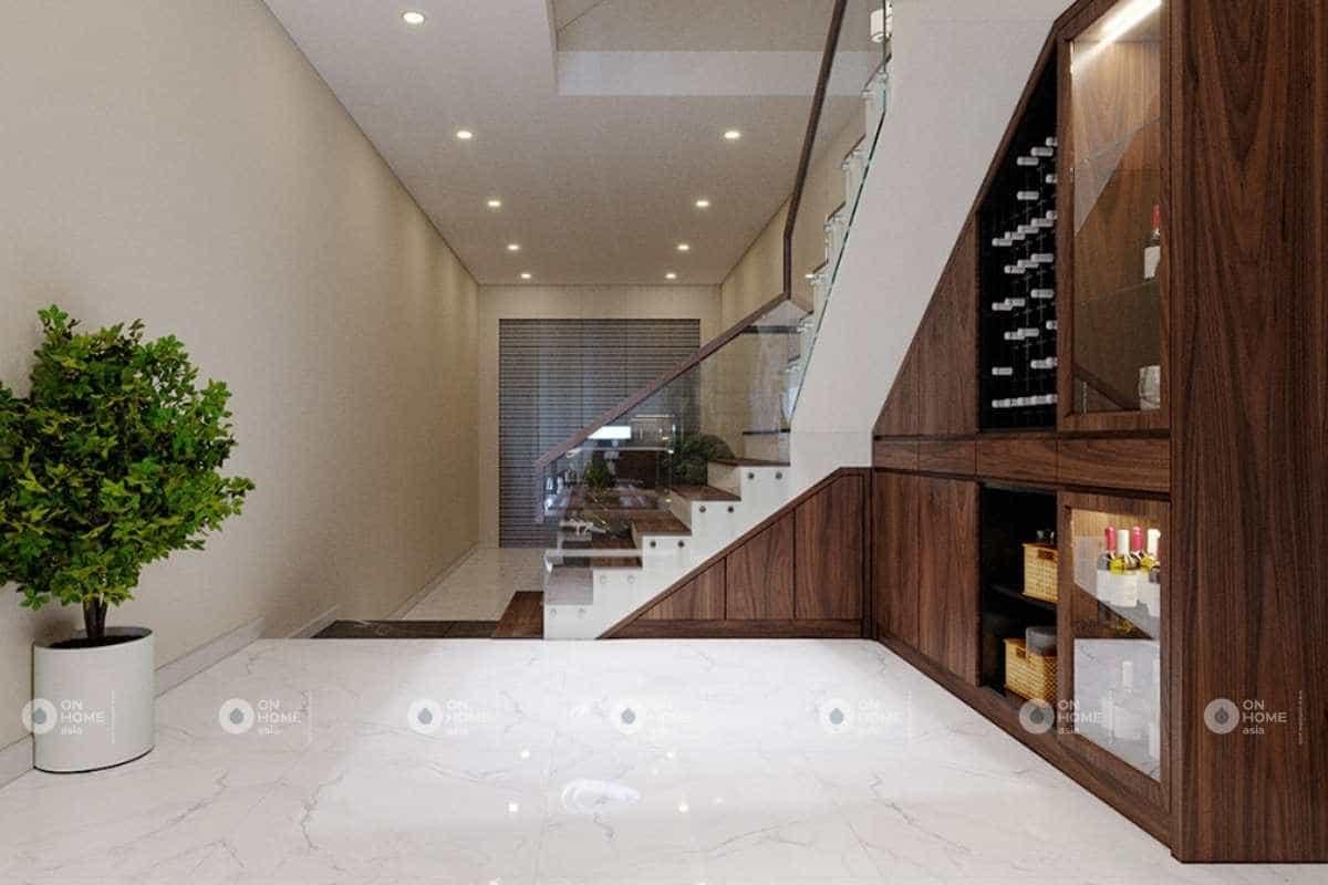 Thiết kế cầu thang nhà phố 5x20m sang trọng