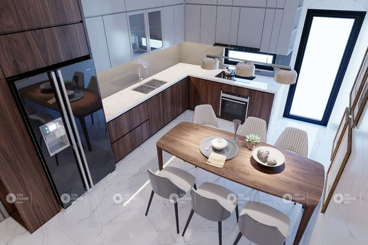 Thiết kế phòng bếp nhà phố 5x20m đẹp