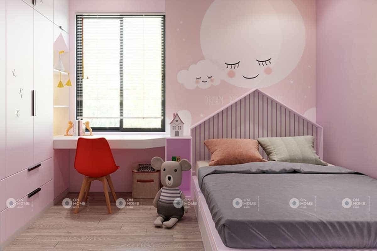 Thiết kế phòng ngủ bé gái nhà phố 5x20m dễ thương