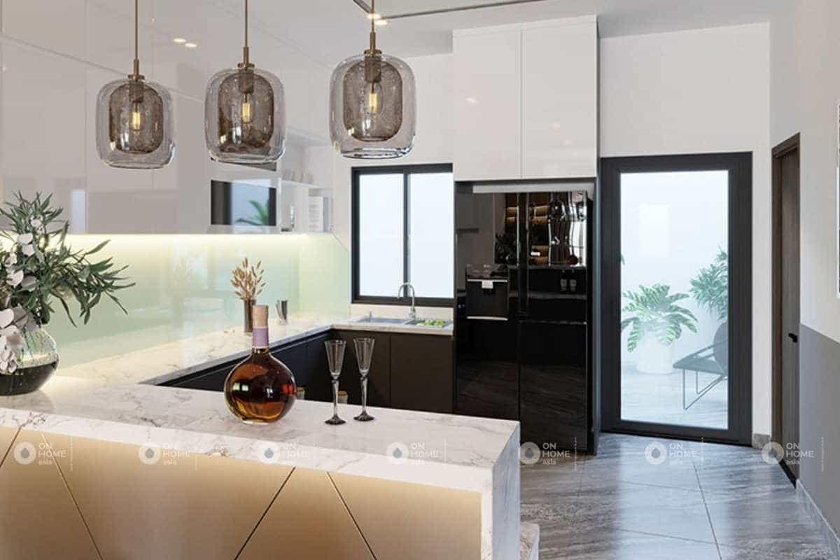 Thiết kế phòng bếp nhà phố 5x20m đẹp và cuốn hút