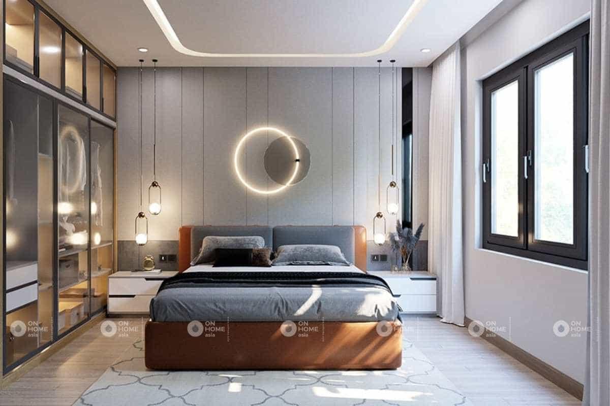 Thiết kế phòng ngủ master theo phong cách hiện đại với những đường nét mạnh mẽ