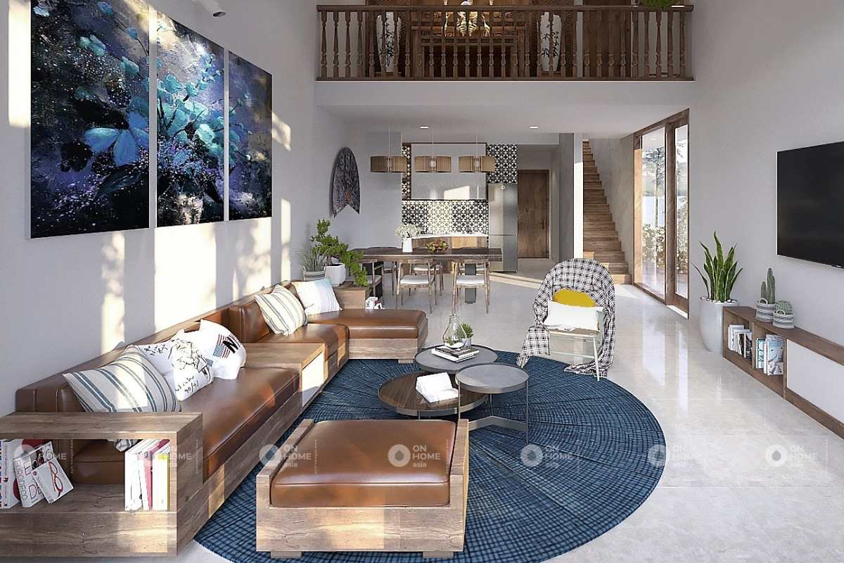 Thiết kế nội thất phòng khách nhà phố 5x20m với các đường nét phòng khoáng