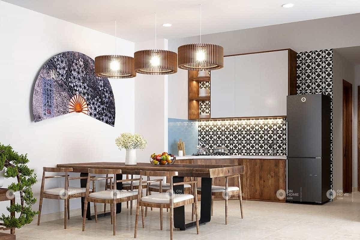 thiết kế nội thất nhà phố 5x20m với bếp đẹp và tinh tế
