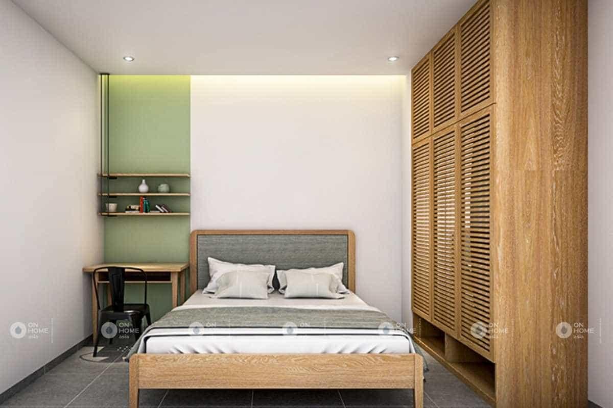 Thiết kế phòng ngủ thứu 2 với sự kết hợp giữa sắc xám và xanh non