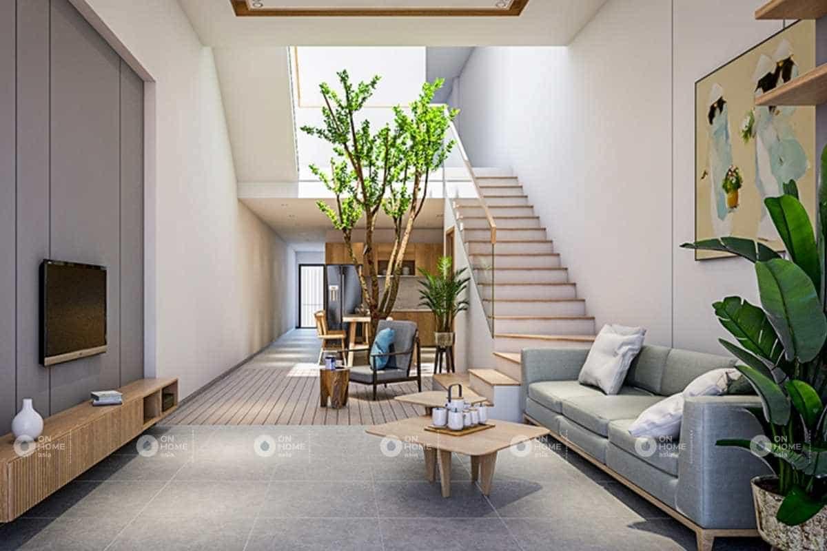 Thiết kế nội thất phòng khách 5x20m với phòng khách đơn giản