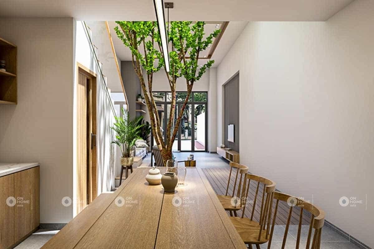 nội thất phòng bếp nhà phố 5x20m với không gian mở