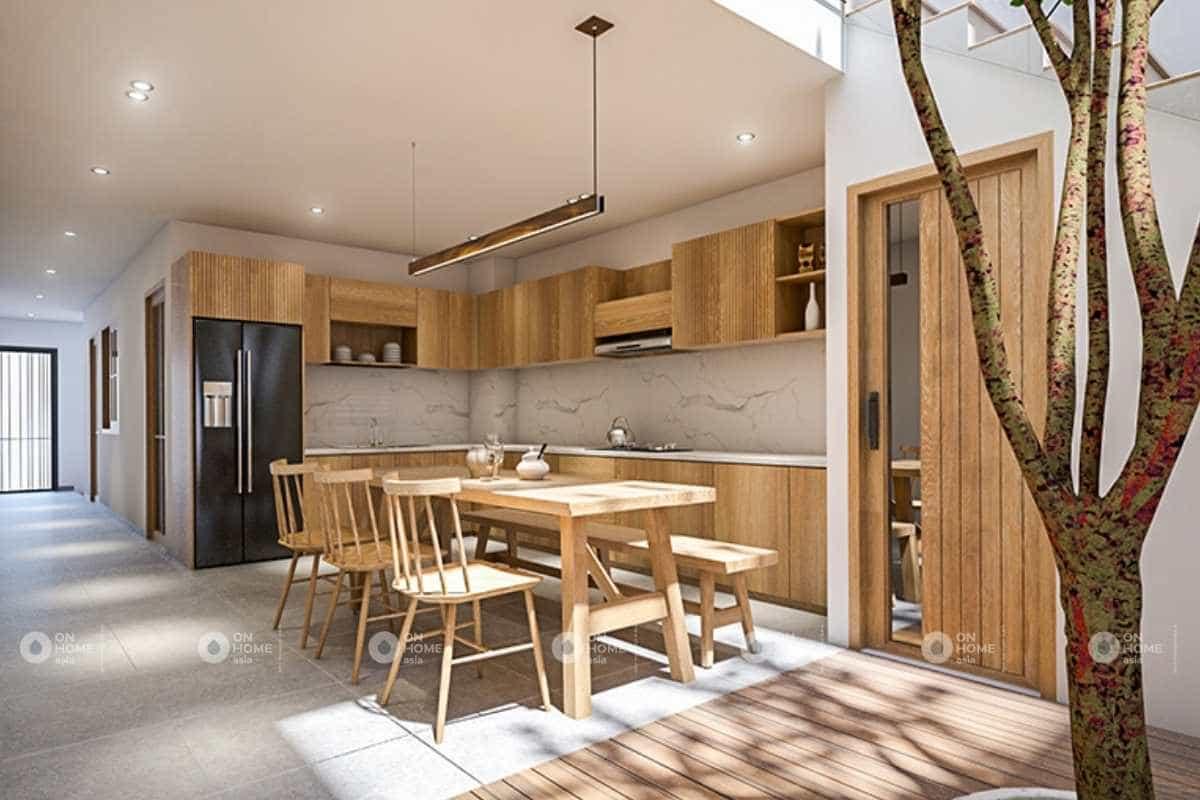 Thiết kế tủ bếp nhà phố 5x20m với gỗ sáng màu