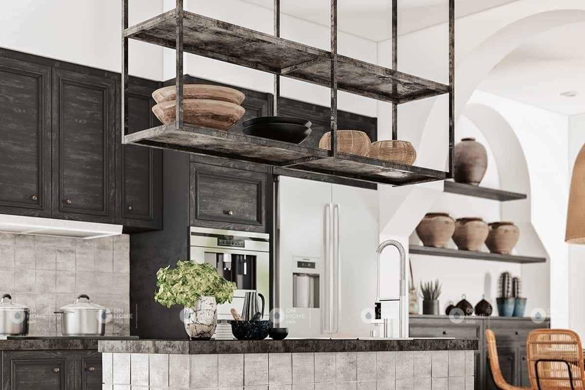 Phòng bếp với sắc đen mộc mạc và ấn tượng