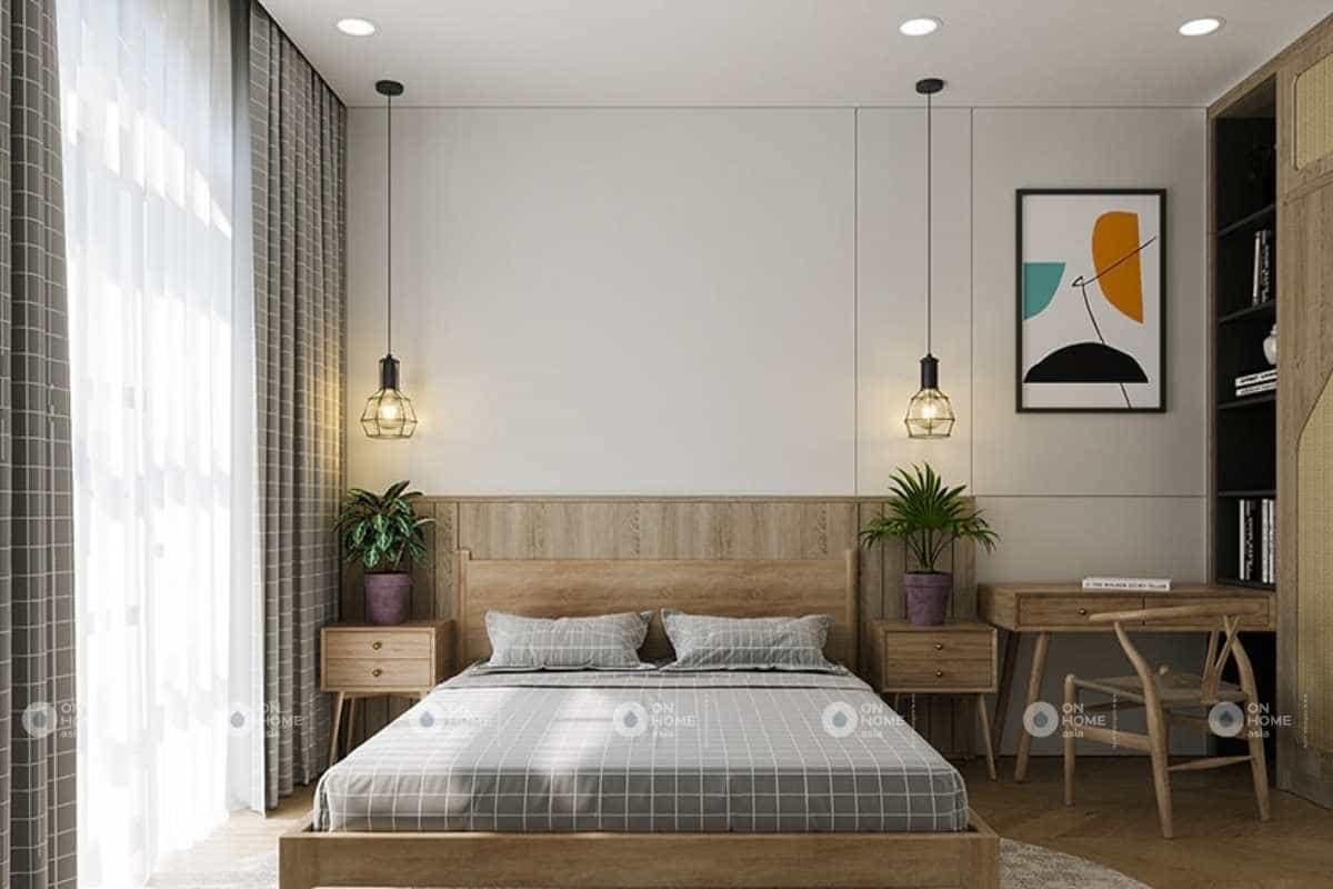 Không gian phòng ngủ được sắp xếp gọn gàng và tinh tế