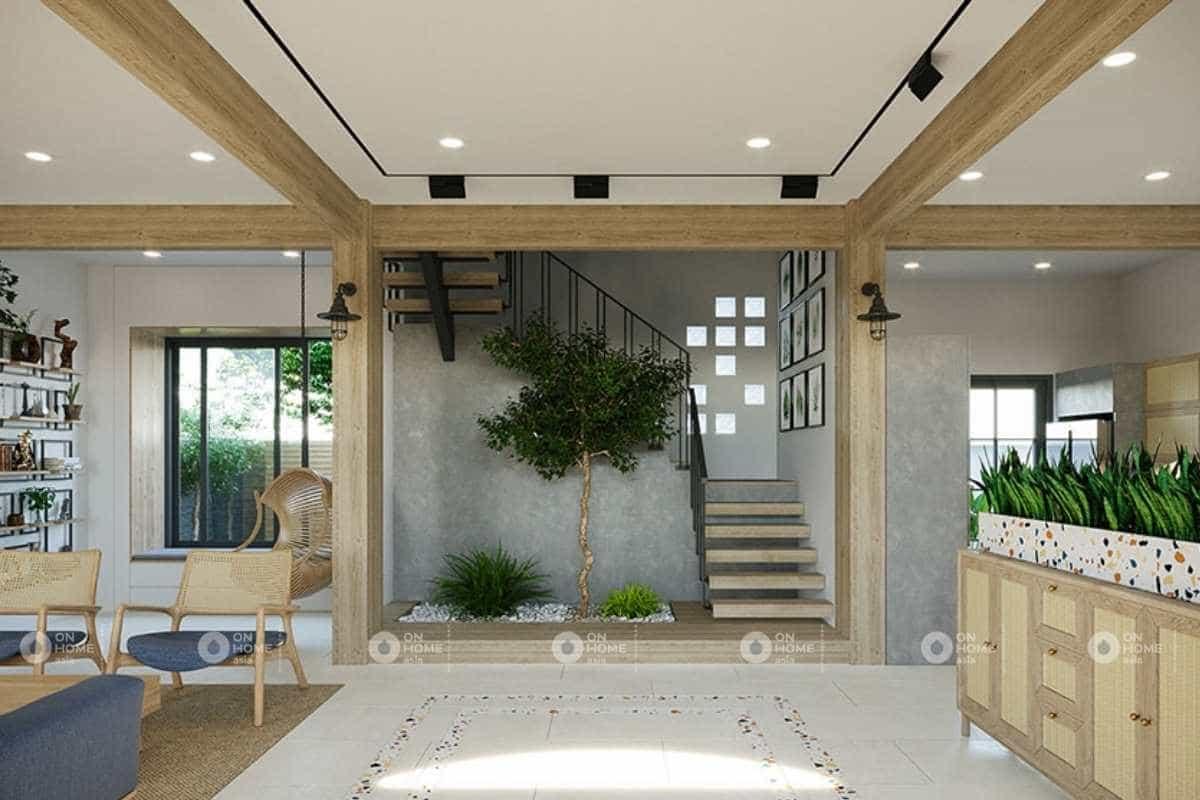 Thiết kế nội thất nhà phố với những mảng xanh mát